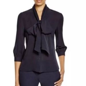 NWOT Tory Burch Silk Uniform Bow Blouse
